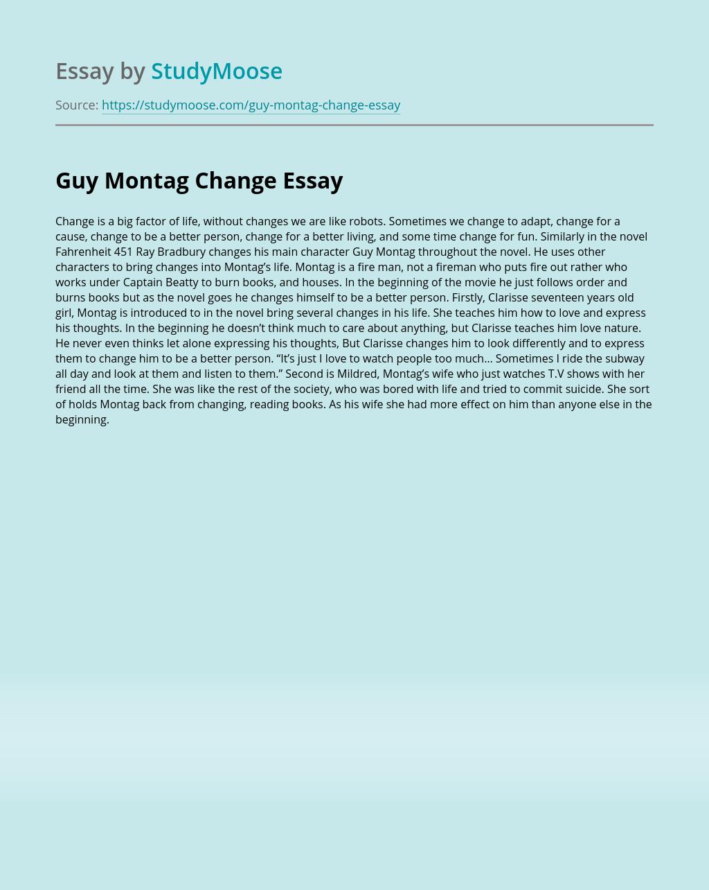 Guy Montag Change
