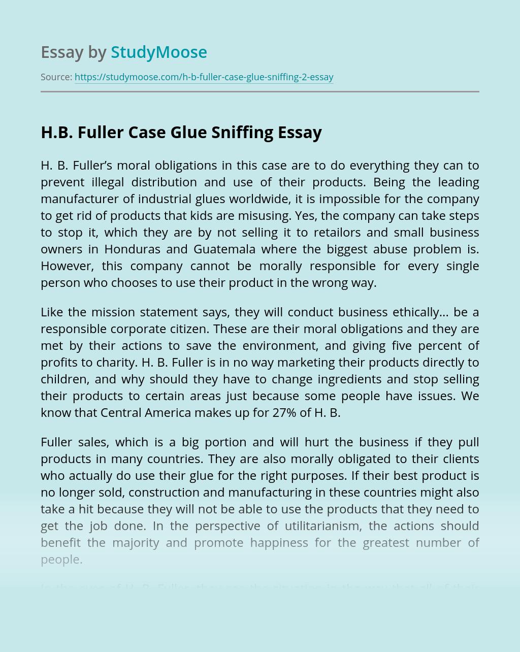 H.B. Fuller Case Glue Sniffing