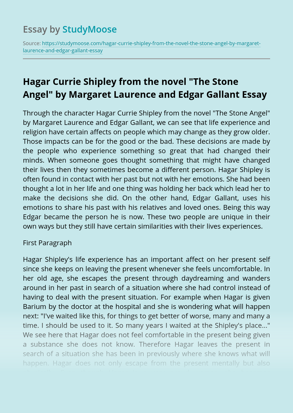 """Hagar Currie Shipley from the novel """"The Stone Angel"""" by Margaret Laurence and Edgar Gallant"""