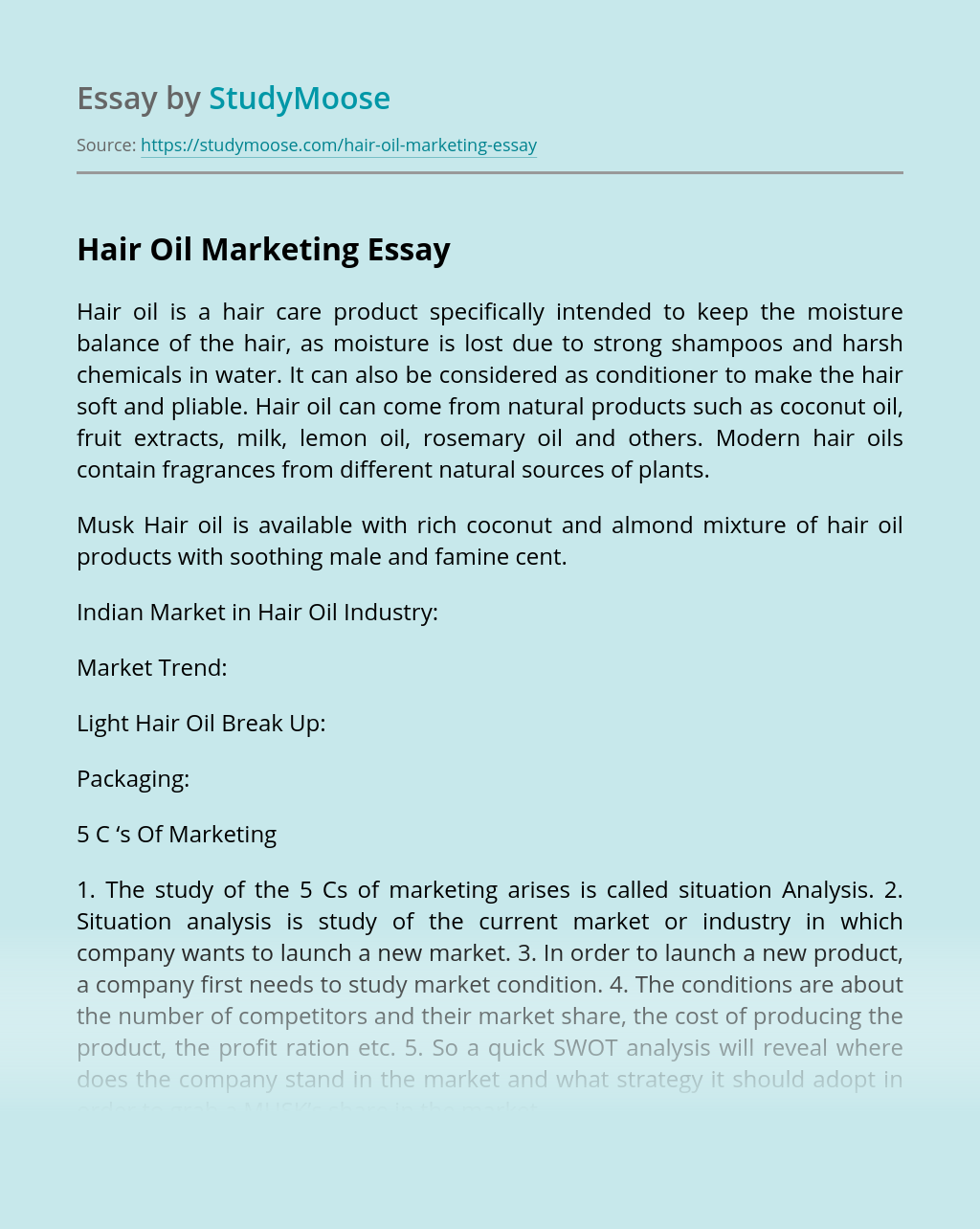 Hair Oil Marketing