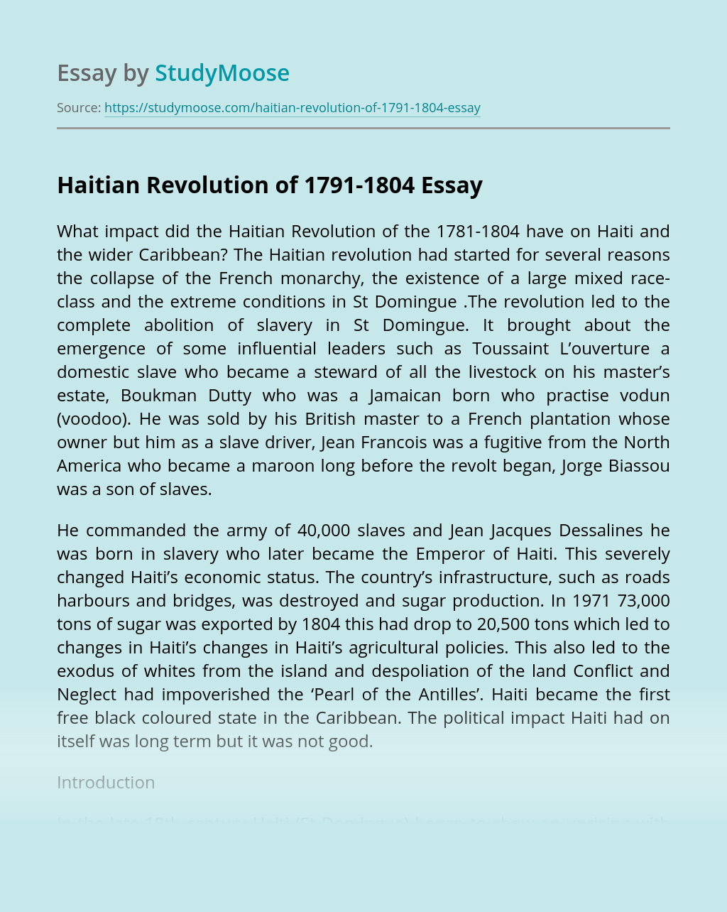 Haitian Revolution of 1791-1804
