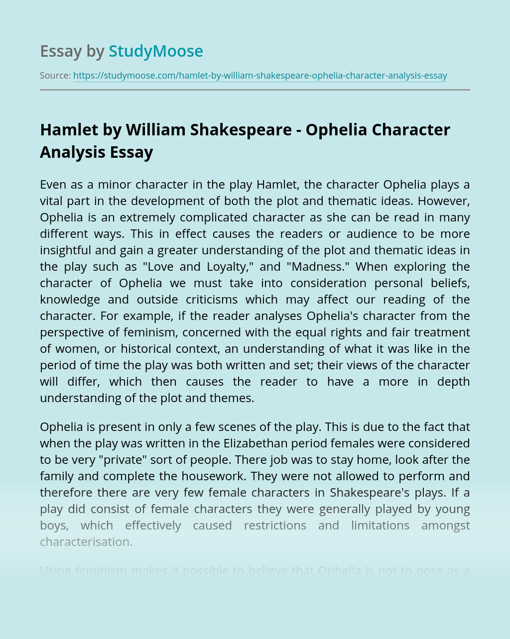 Hamlet by William Shakespeare - Ophelia Character Analysis