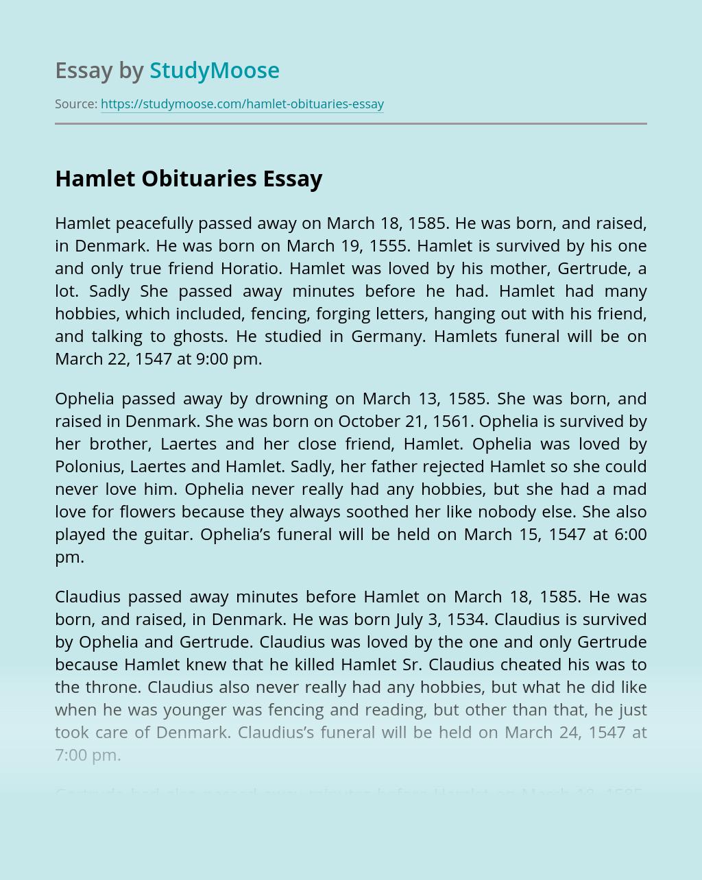 Hamlet Obituaries