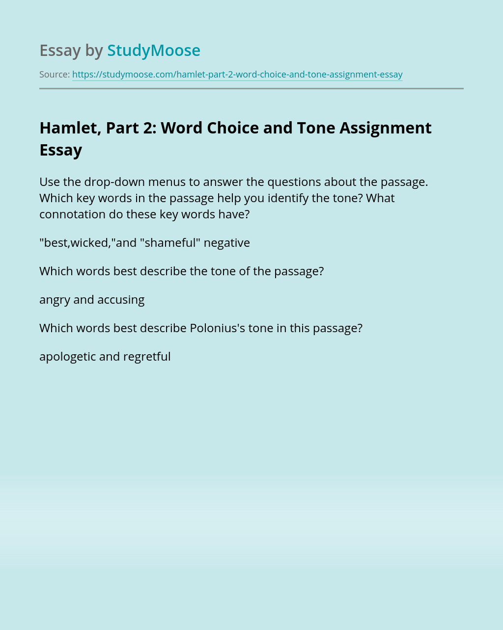 Hamlet, Part 2: Word Choice and Tone Assignment