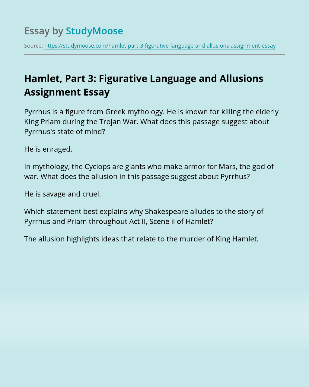 Hamlet, Part 3: Figurative Language and Allusions Assignment