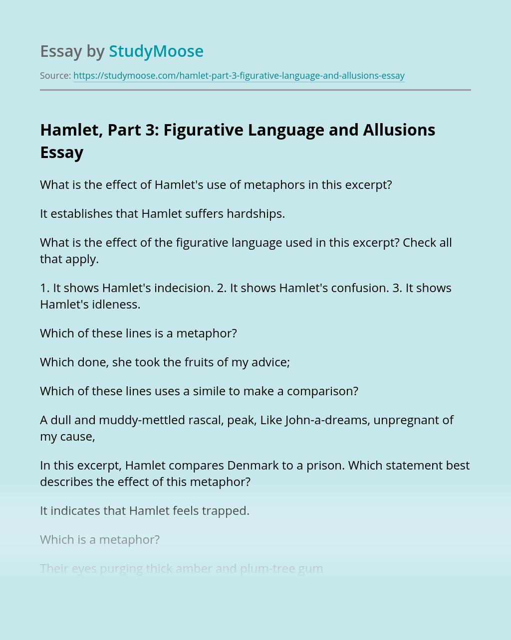 Hamlet, Part 3: Figurative Language and Allusions