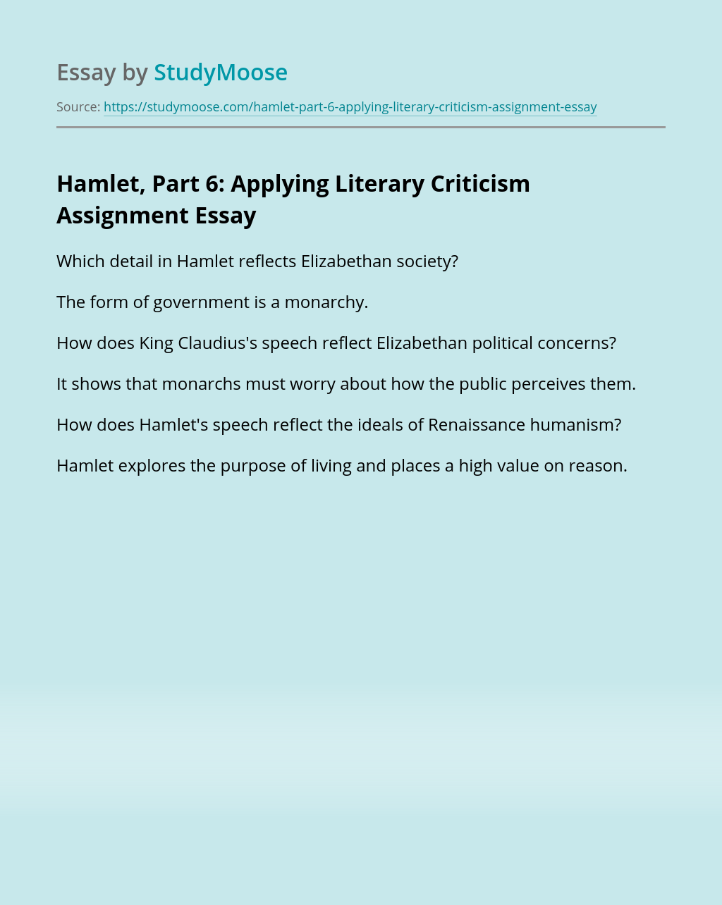 Hamlet, Part 6: Applying Literary Criticism Assignment