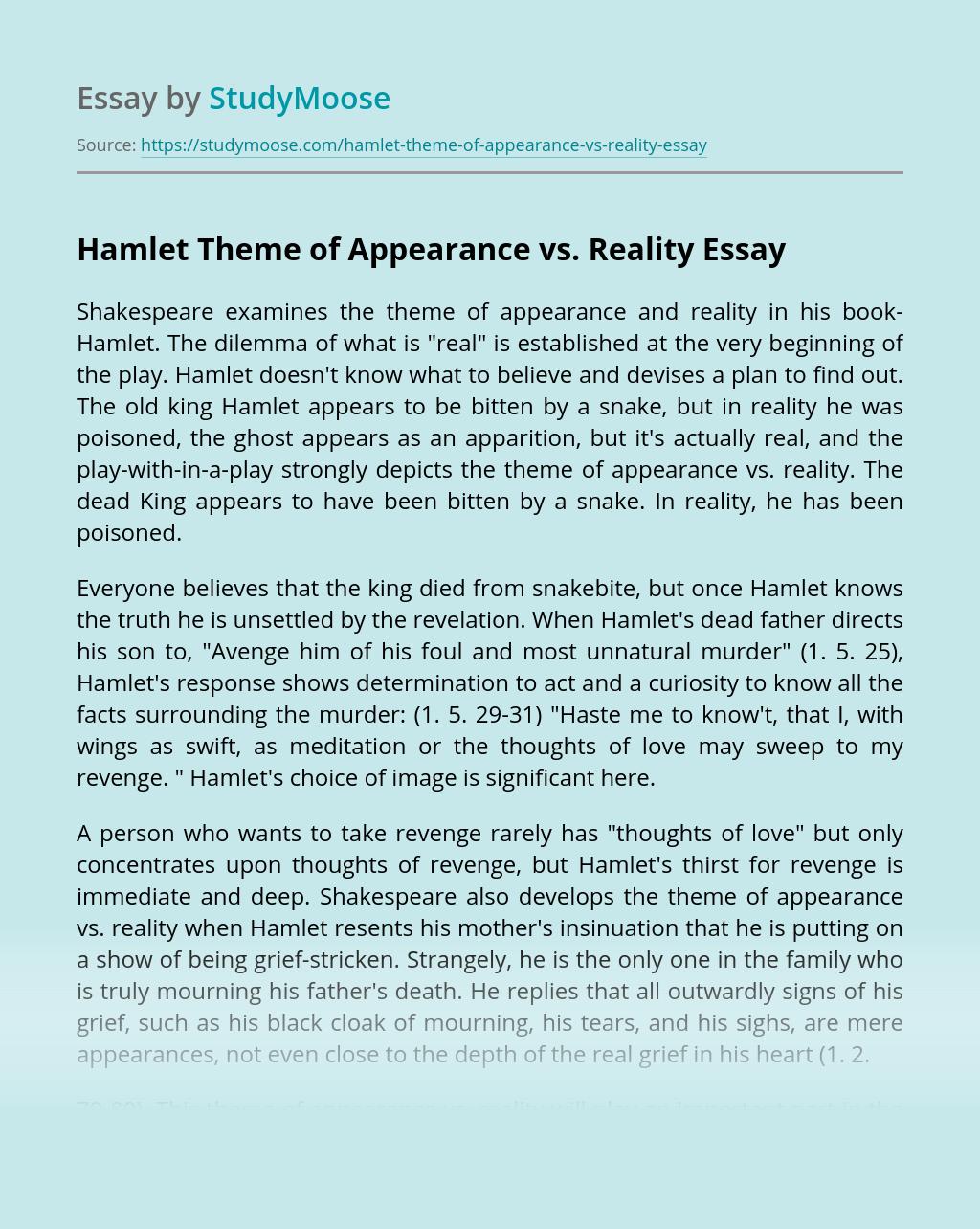 Hamlet Theme of Appearance vs. Reality