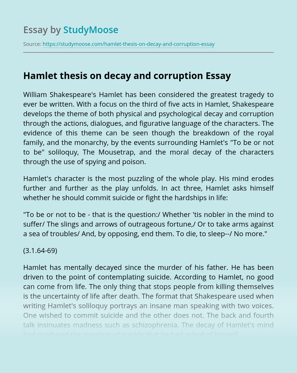 Hamlet thesis on decay and corruption