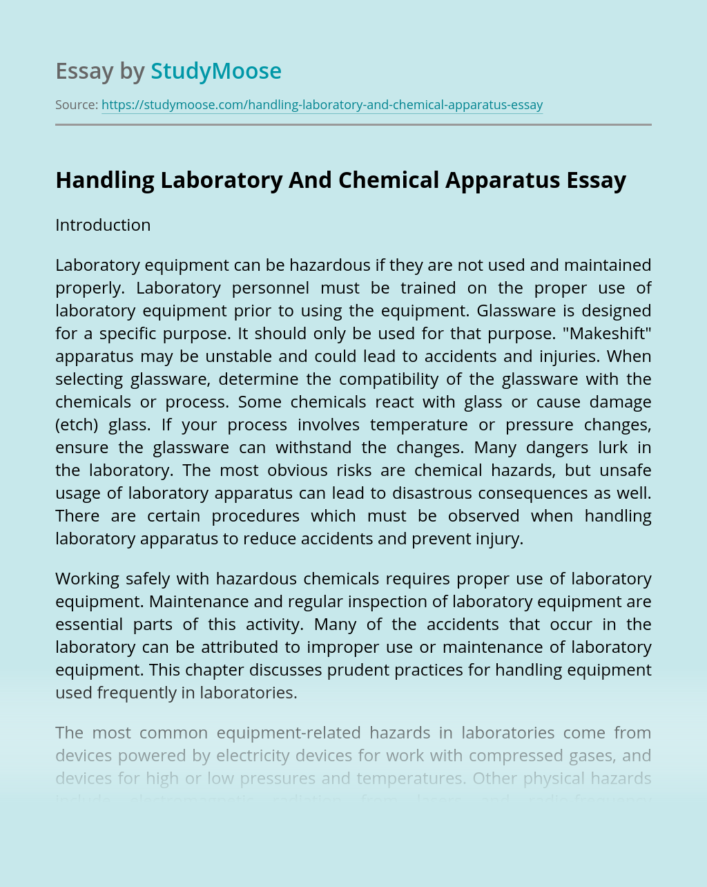 Handling Laboratory And Chemical Apparatus
