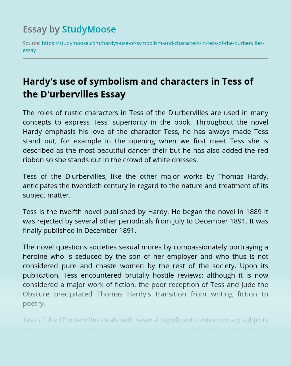 Hardy's use of symbolism and  characters in Tess of the D'urbervilles