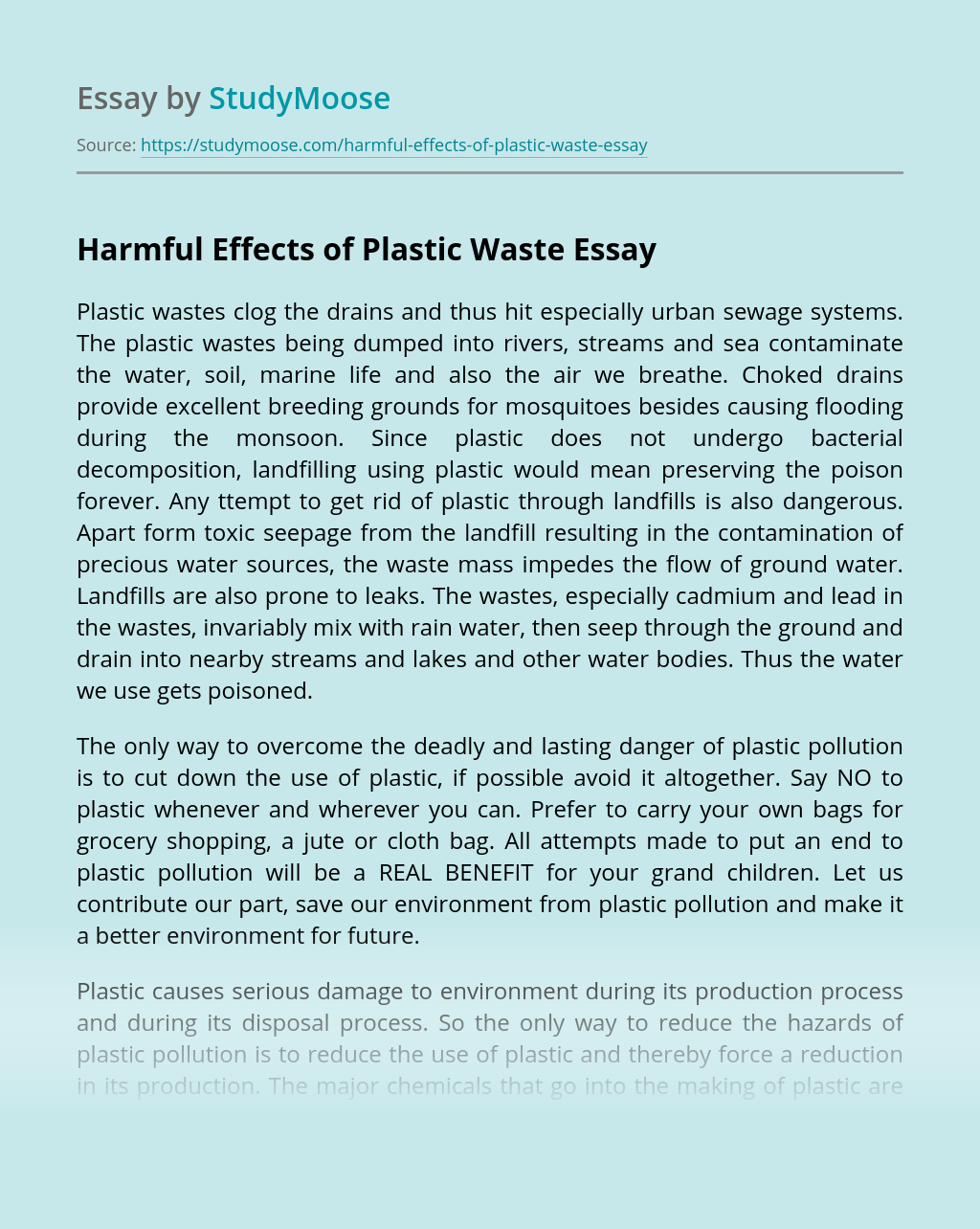 Harmful Effects of Plastic Waste