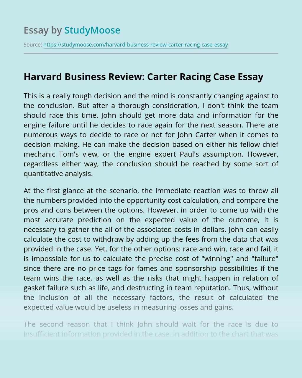 Harvard Business Review: Carter Racing Case