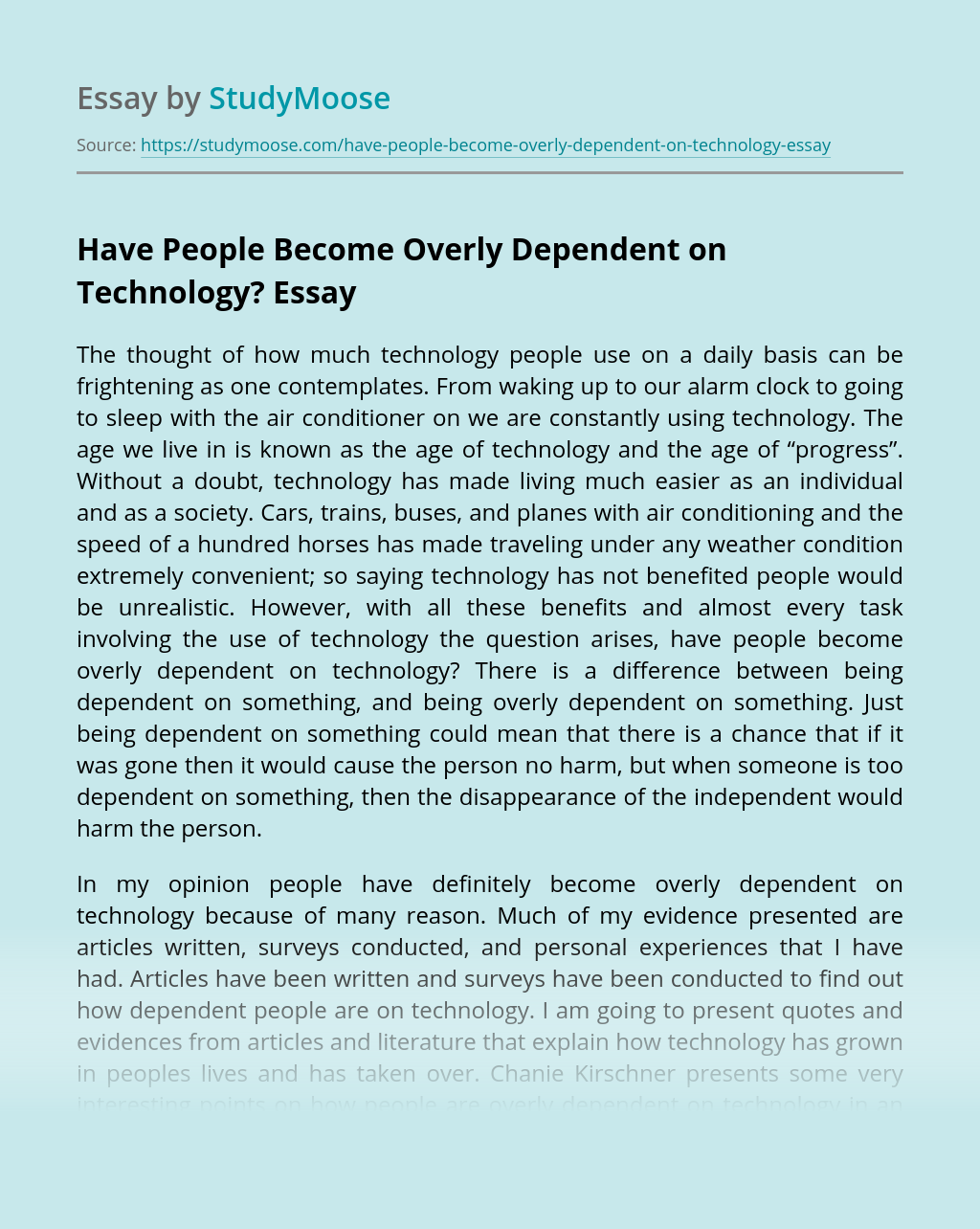 Have People Become Overly Dependent on Technology?