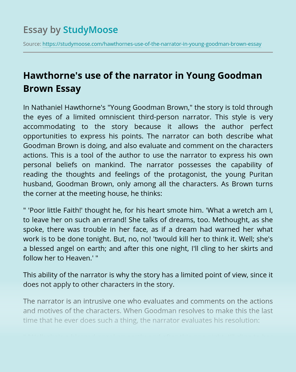 Hawthorne's use of the narrator in Young Goodman Brown