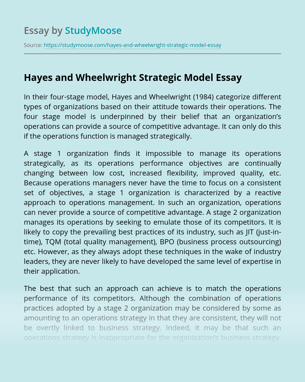 The four stage model of Hayes and Wheelwright