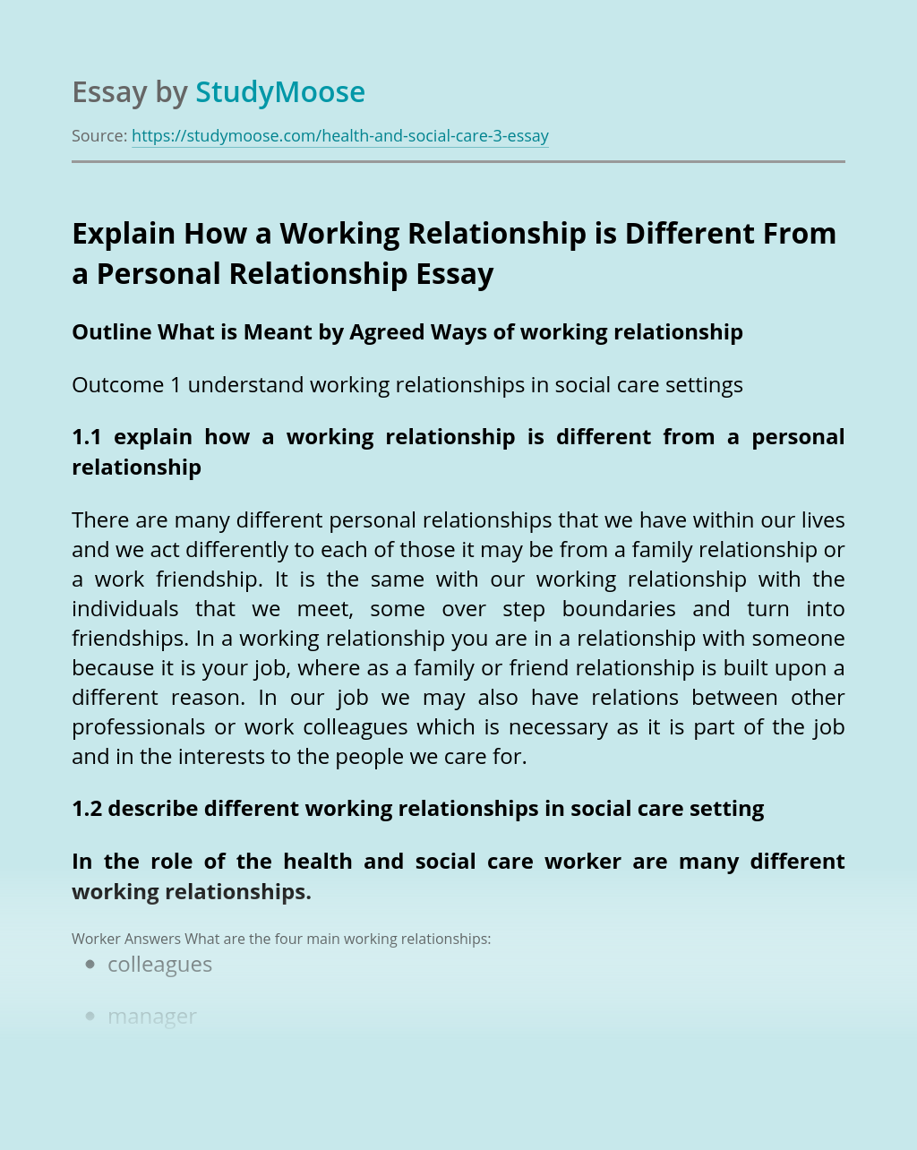 Explain How a Working Relationship is Different From a Personal Relationship