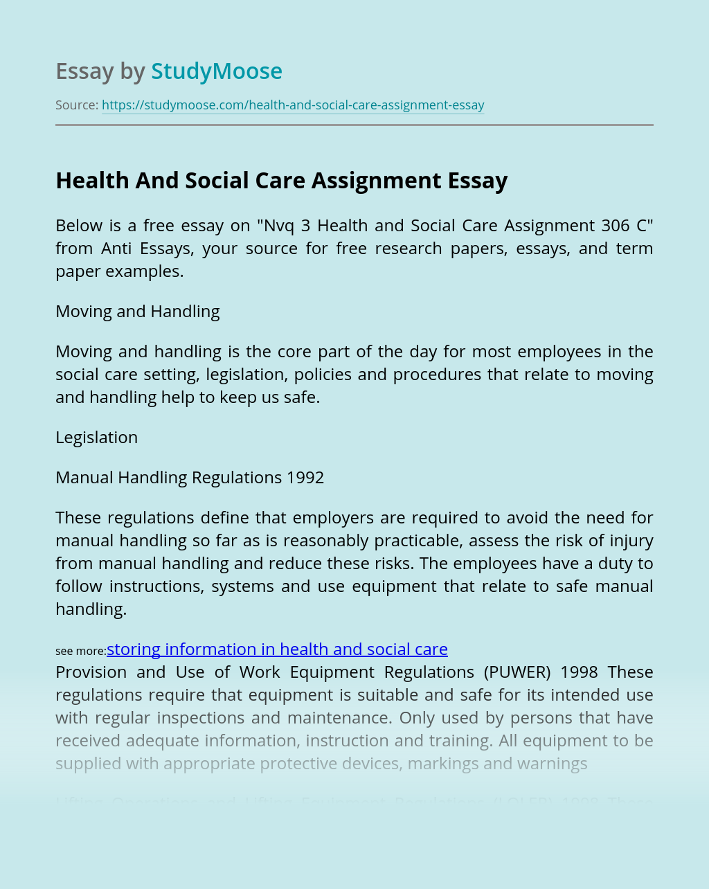 Health And Social Care Assignment
