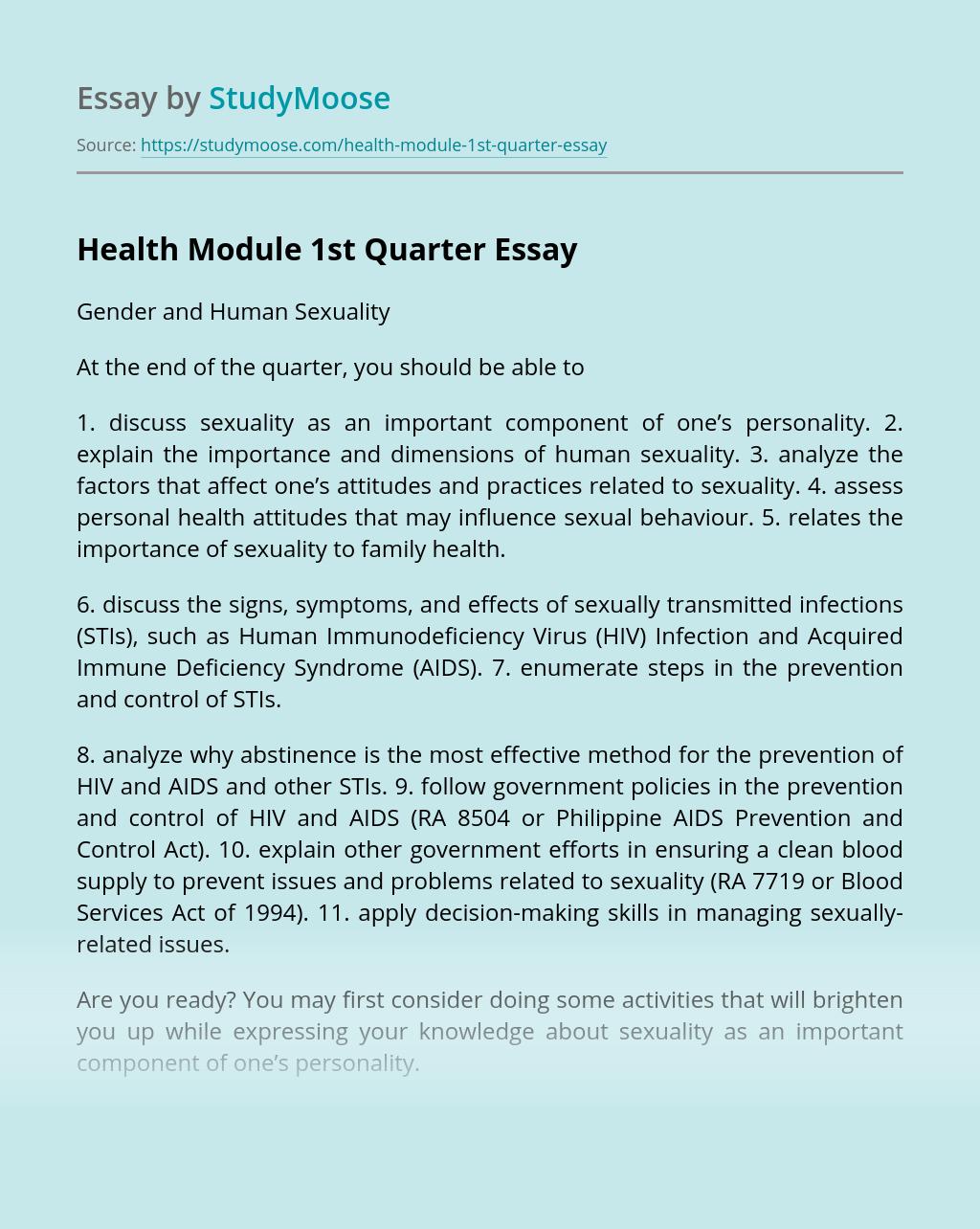 Health Module 1st Quarter