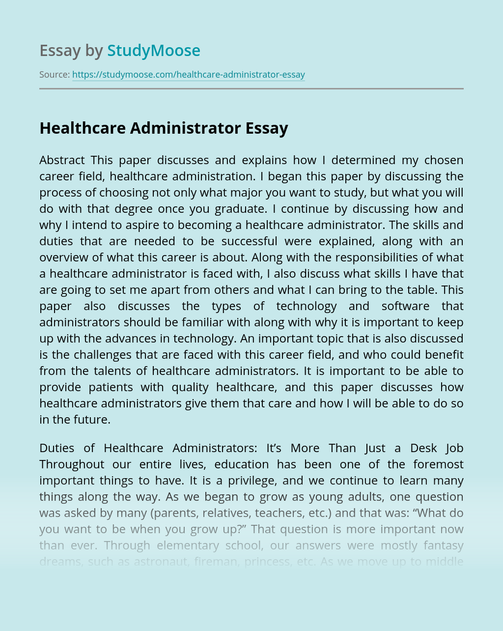 Healthcare Administrator