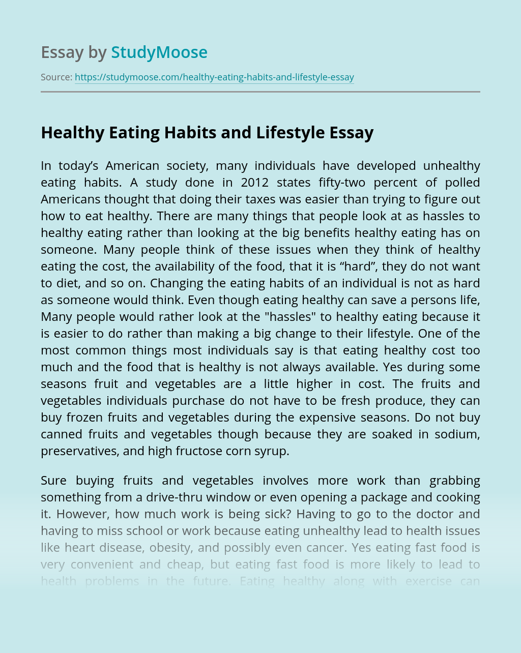 Healthy eating habits essay