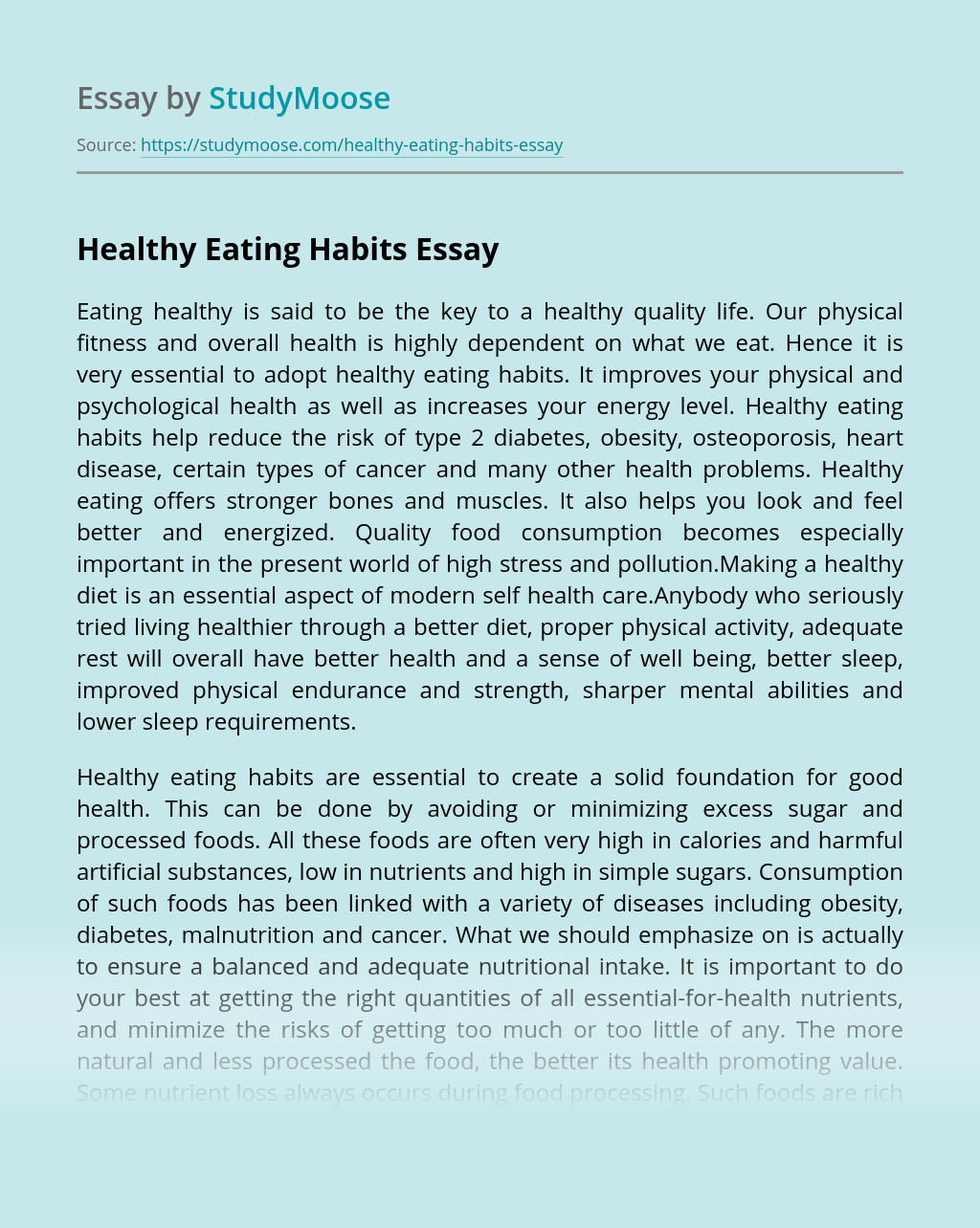 ?Healthy Eating Habits
