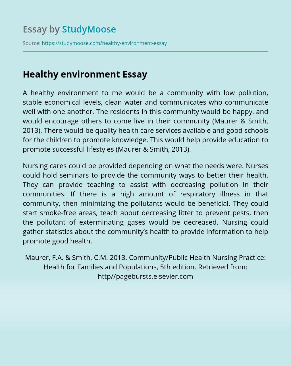Healthy environment