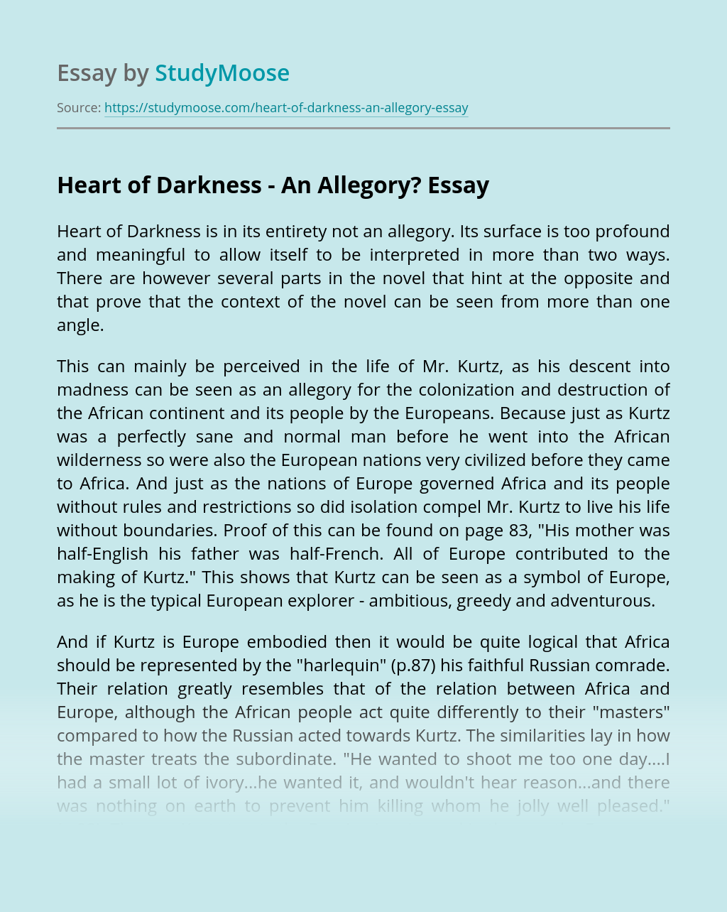 Heart of Darkness – An Allegory?
