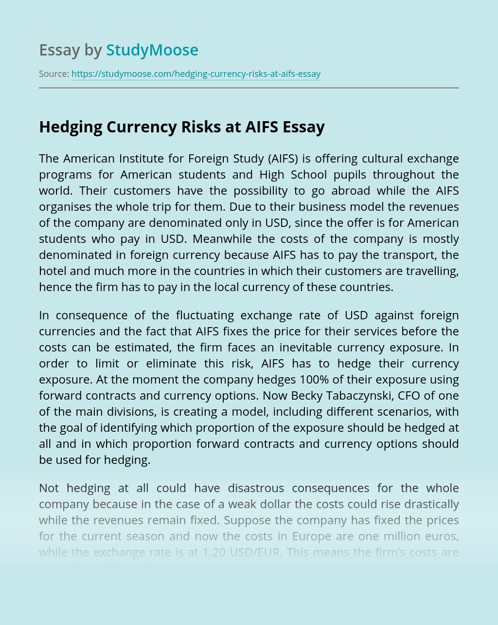 Hedging Currency Risks at AIFS