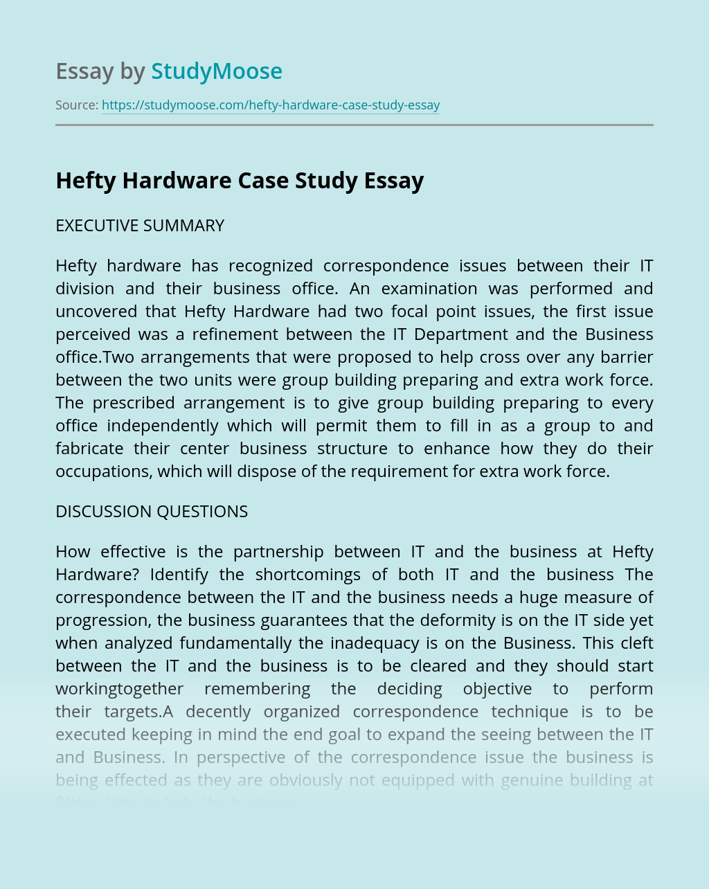 Hefty Hardware Case Study