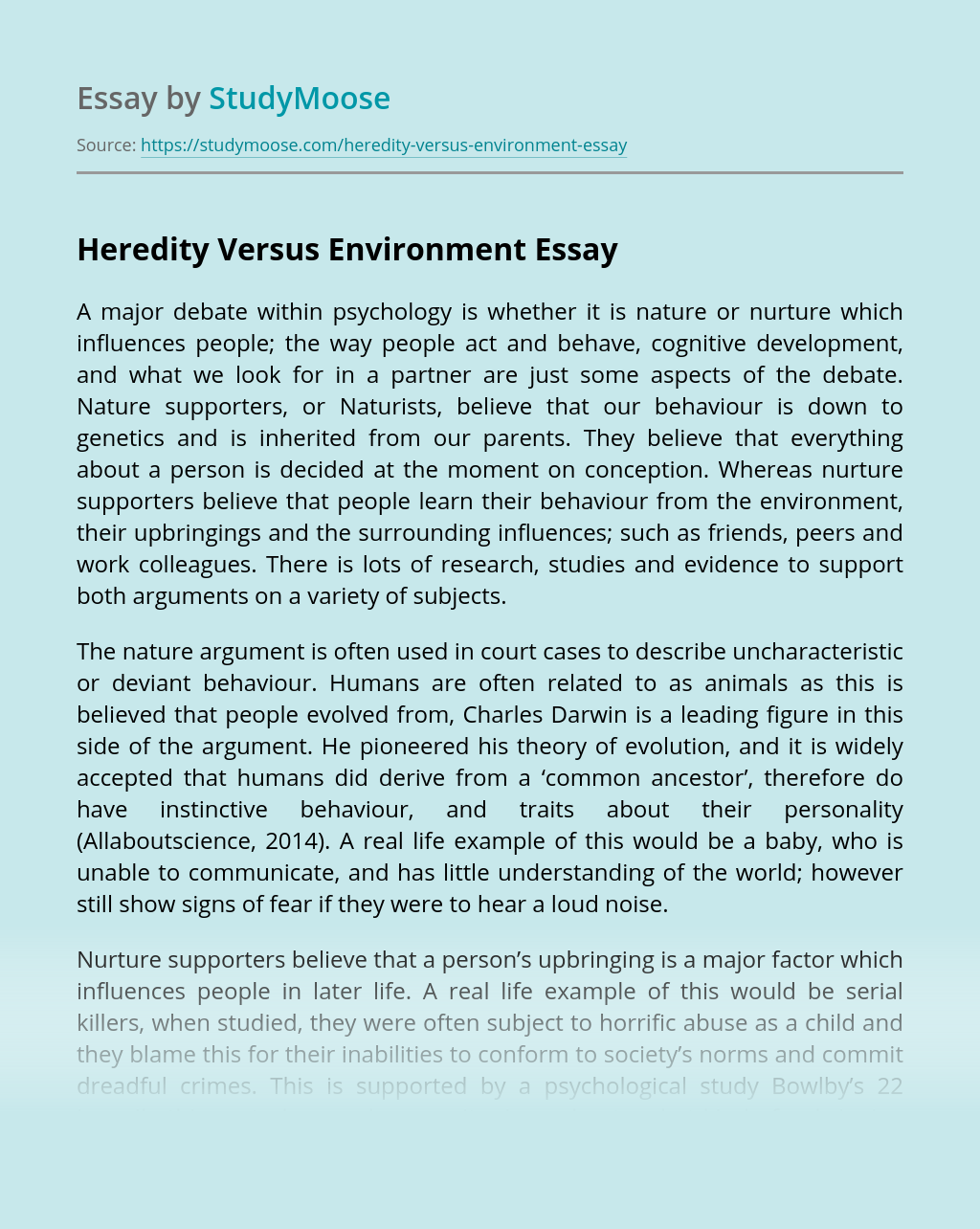 Heredity Versus Environment