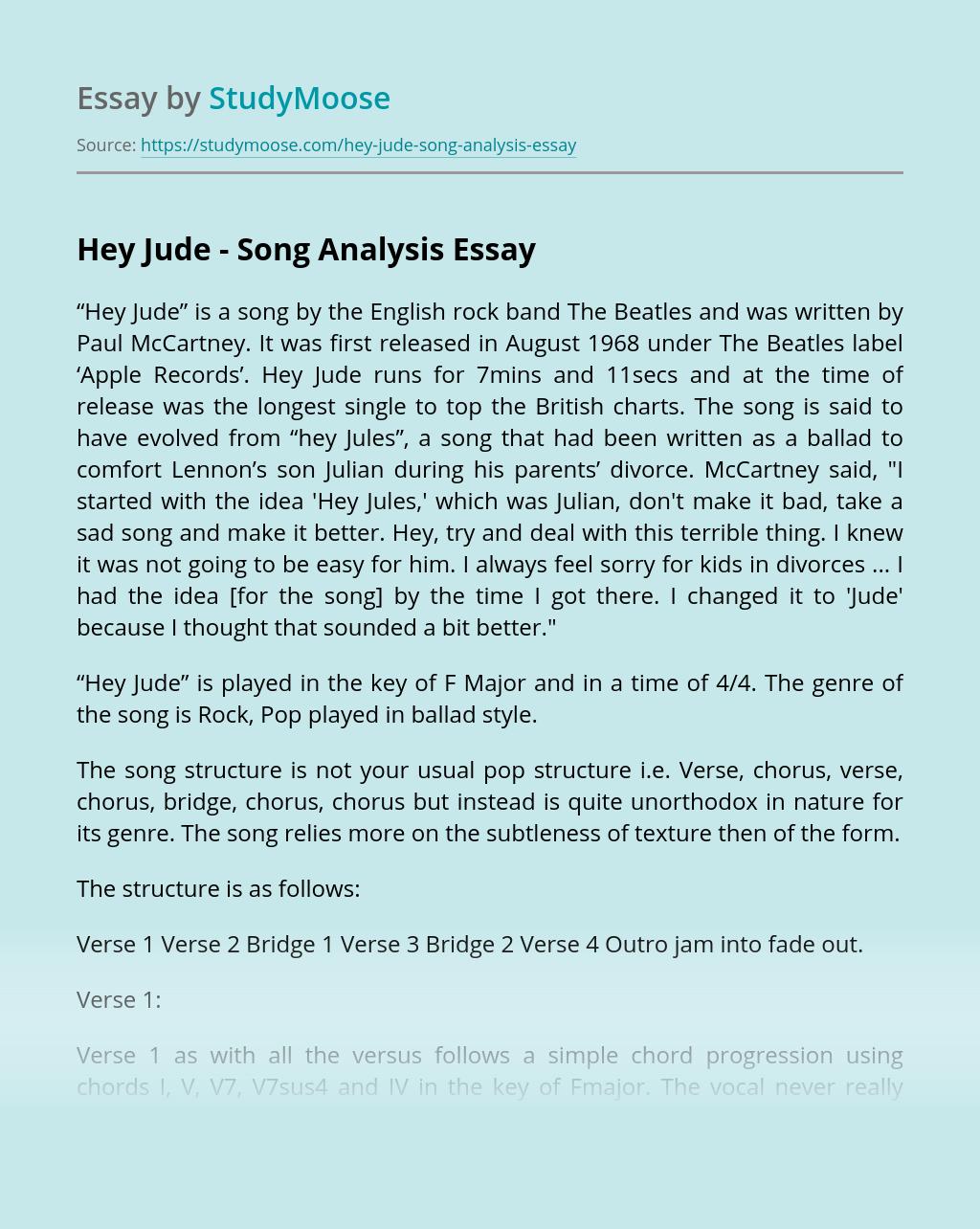 Hey Jude - Song Analysis