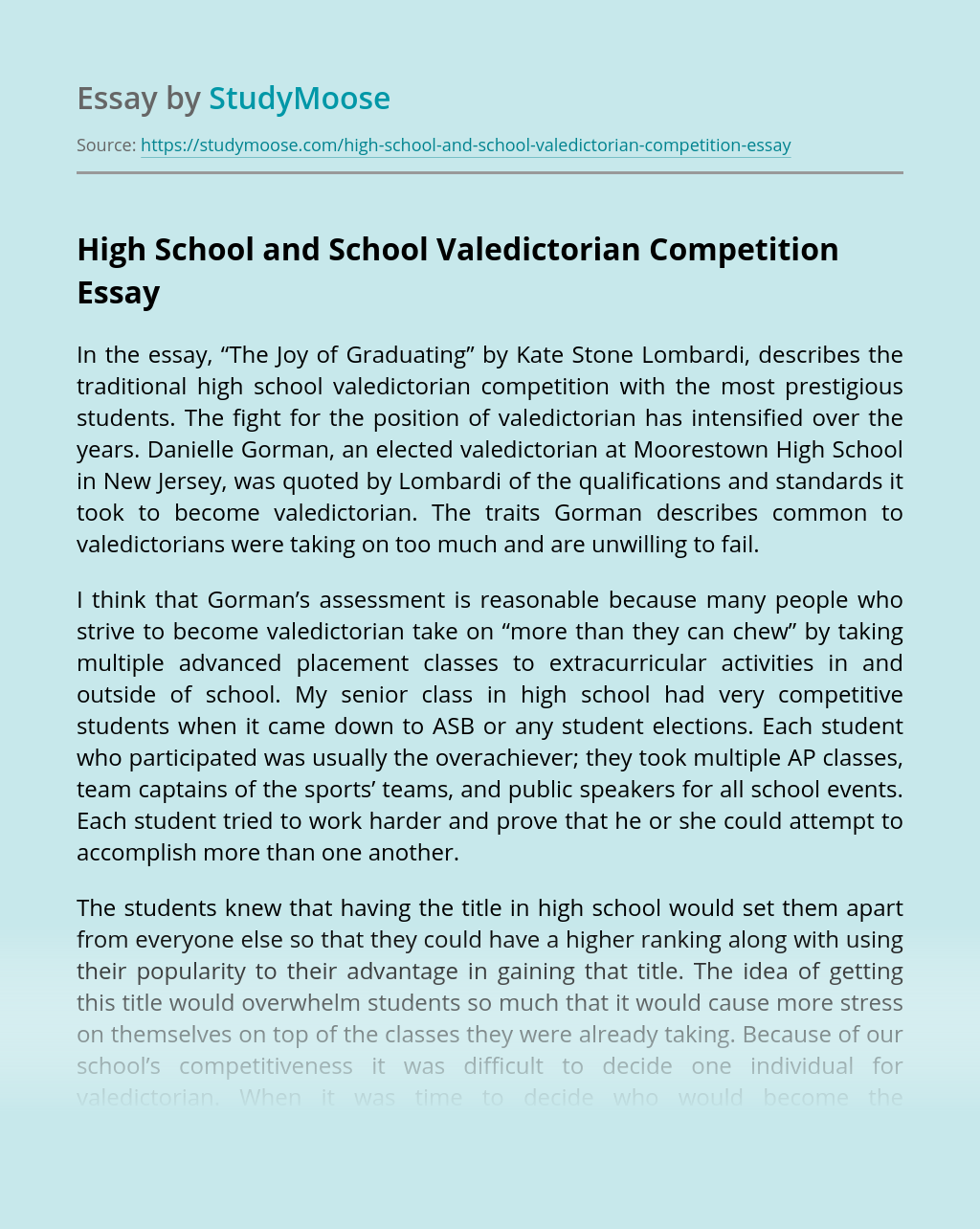 High School and School Valedictorian Competition