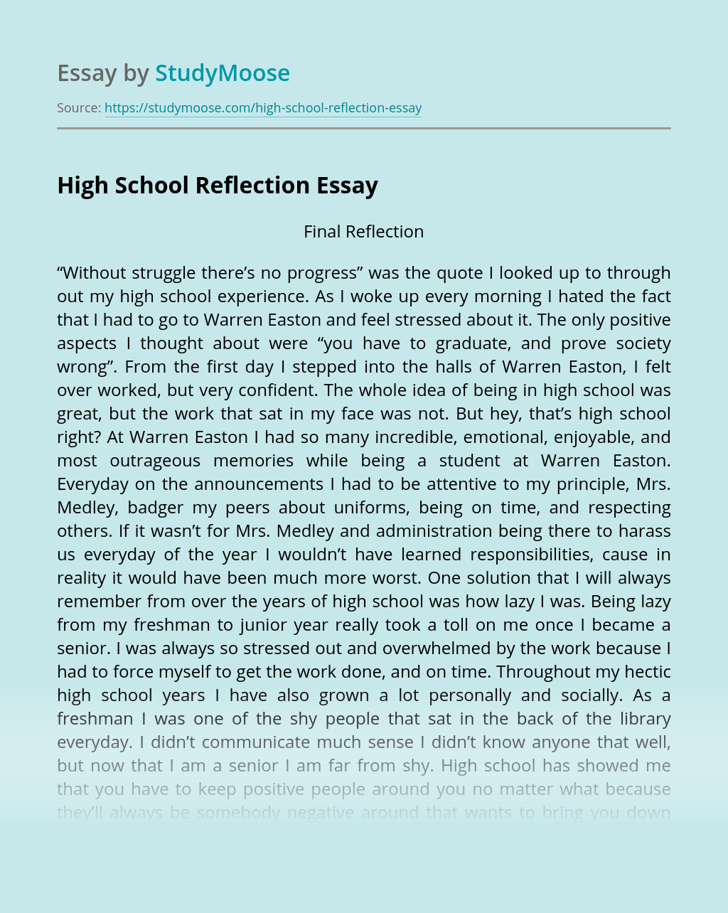 High School Reflection