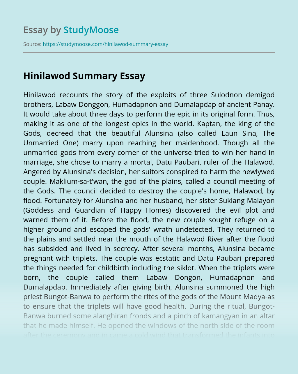Hinilawod Summary