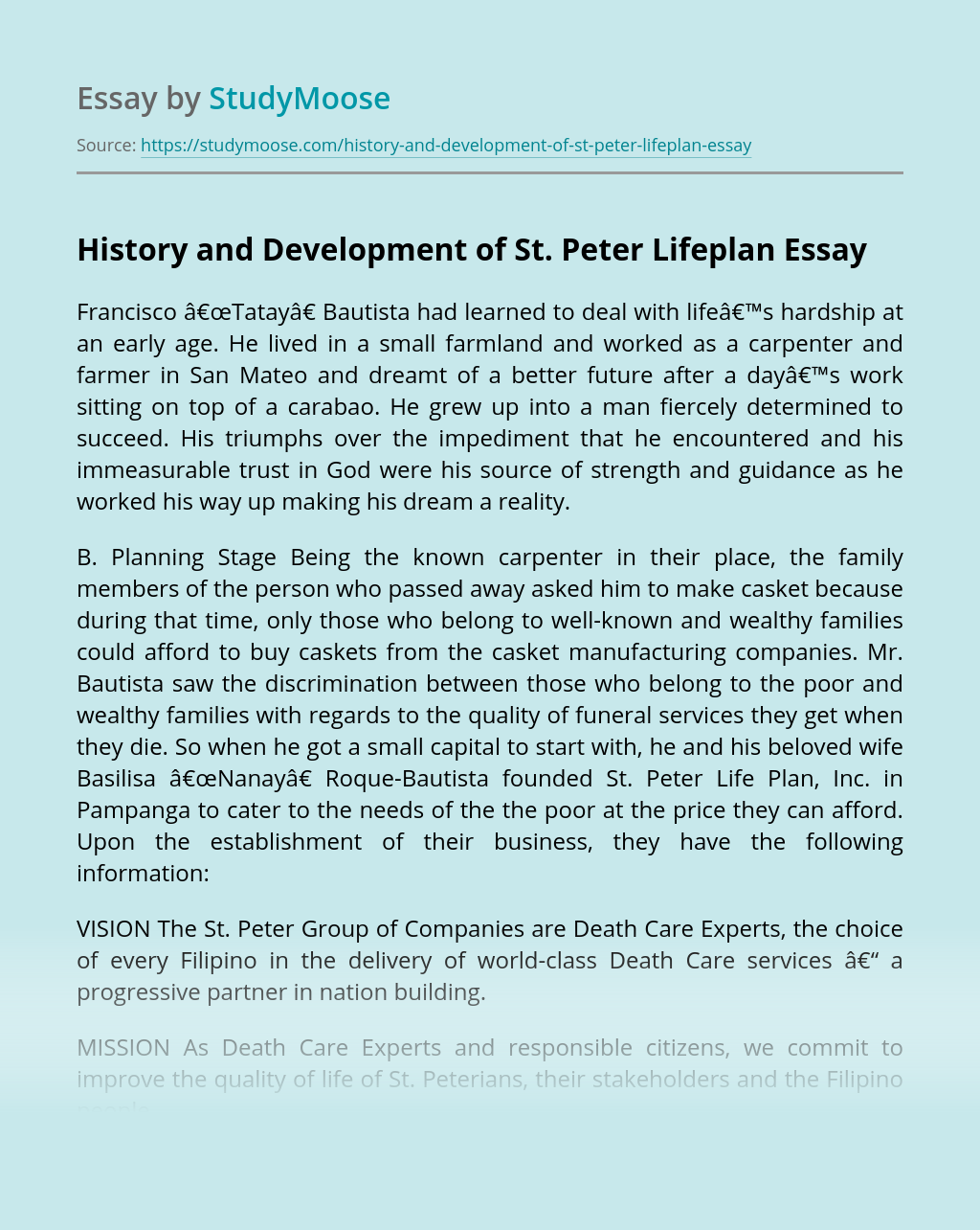 History and Development of St. Peter Lifeplan