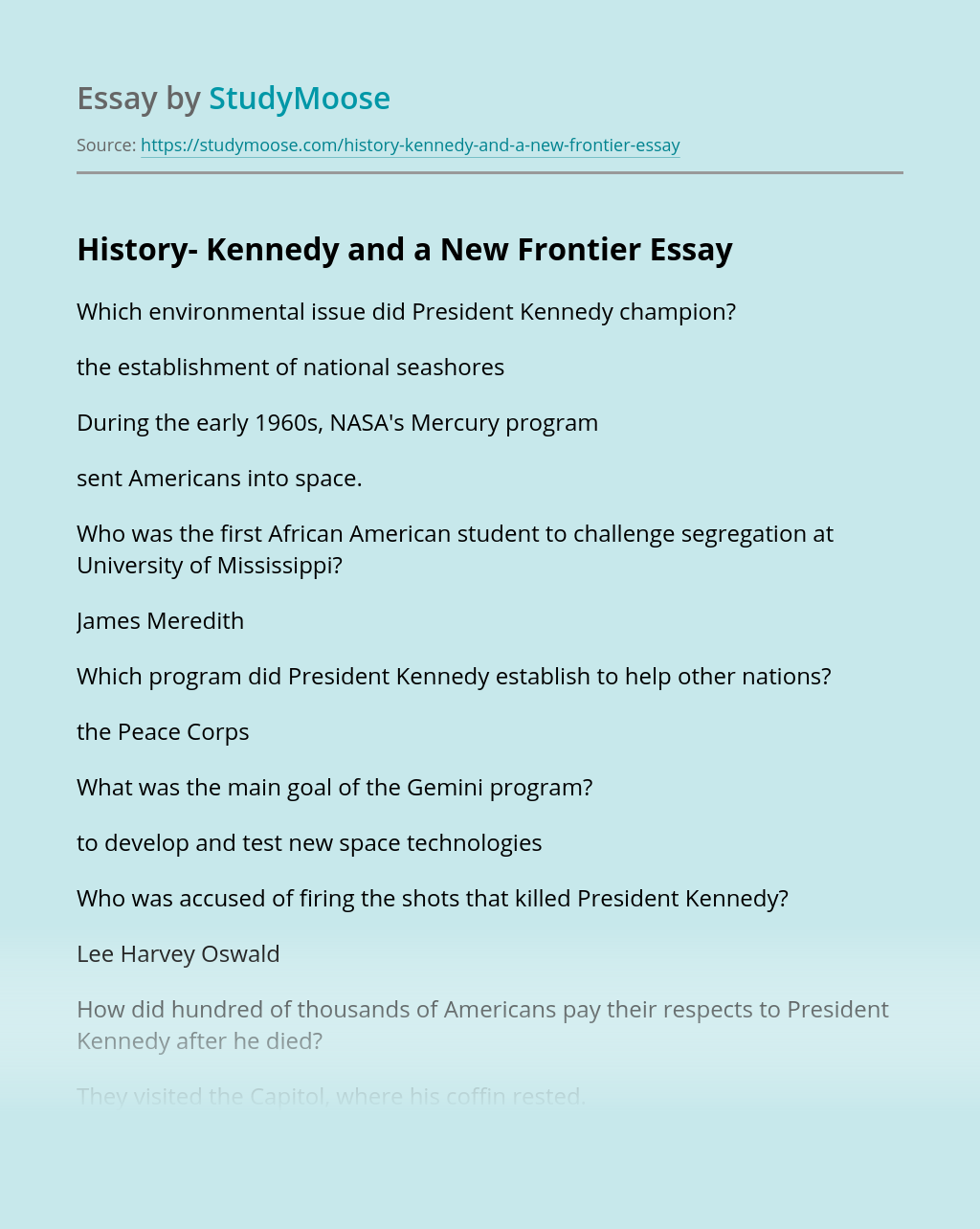 History- Kennedy and a New Frontier