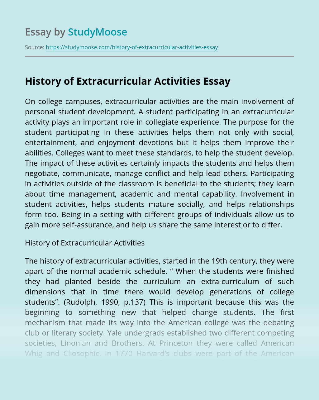 History of Extracurricular Activities