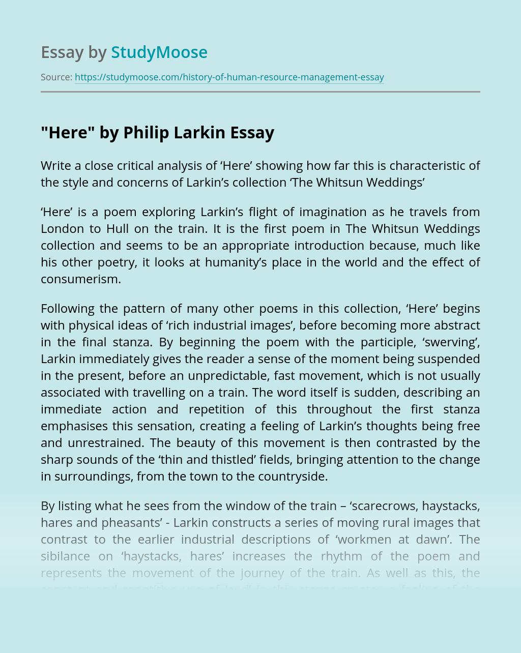 """Here"" by Philip Larkin"