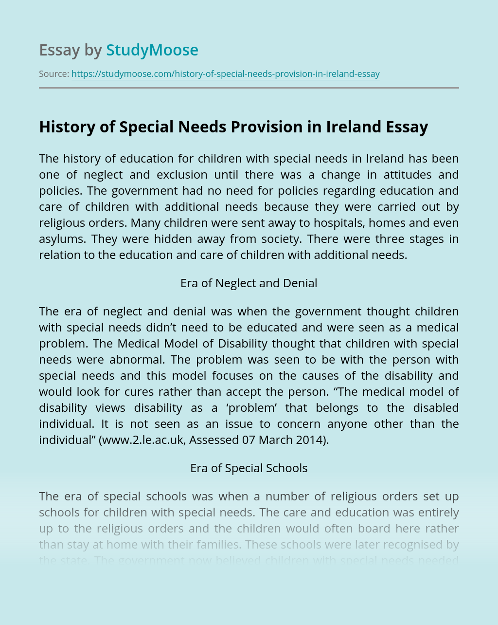 History of Special Needs Provision in Ireland