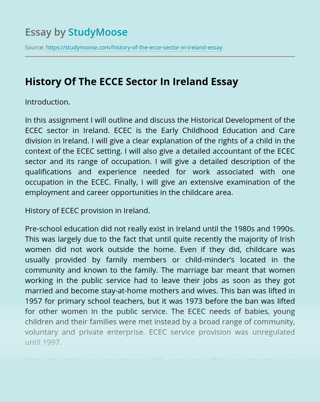 History Of The ECCE Sector In Ireland