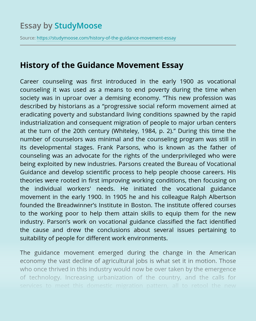 History of the Guidance Movement