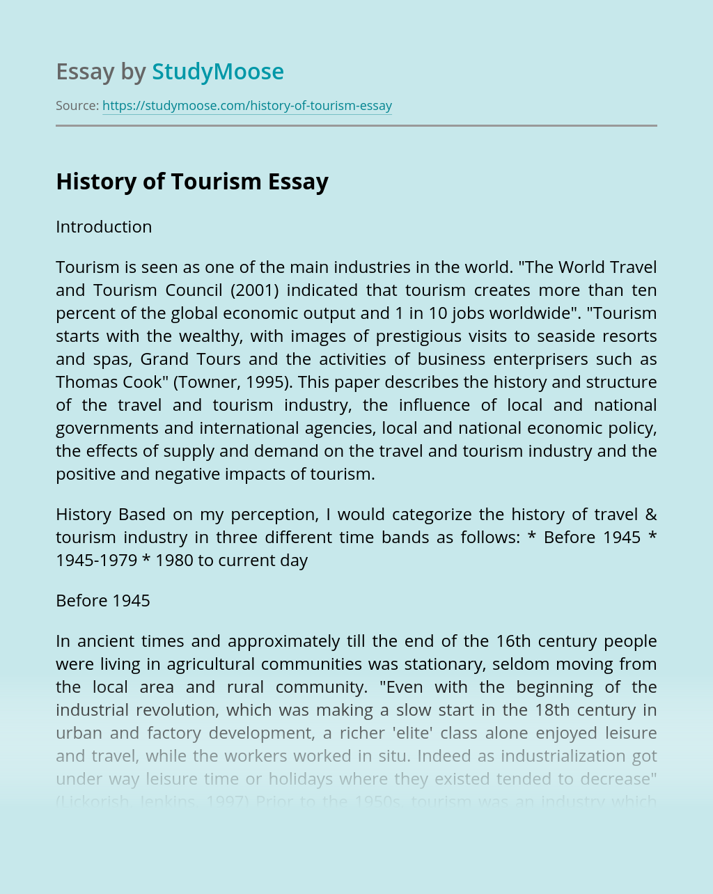 History of Tourism