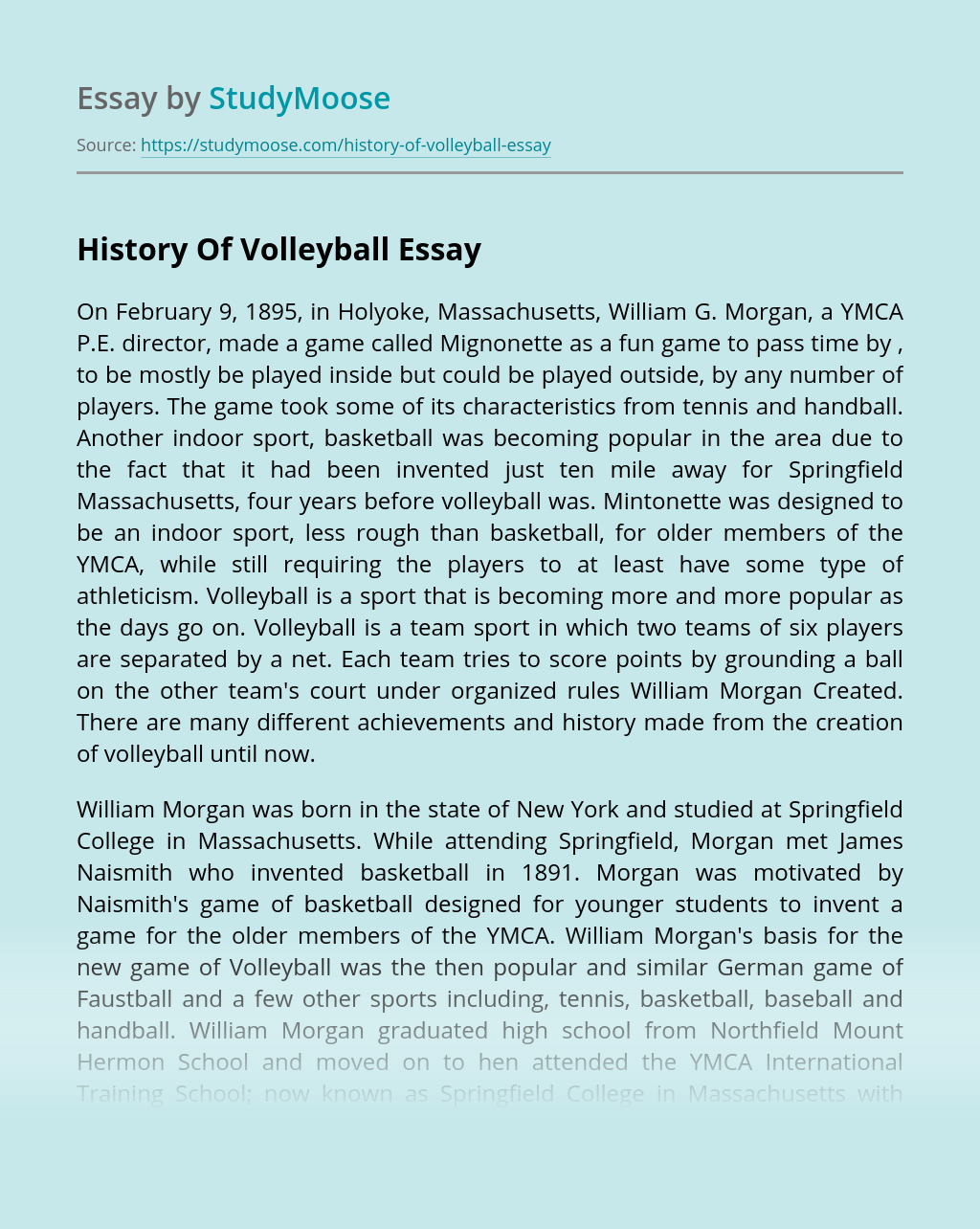 History Of Volleyball Free Essay Example