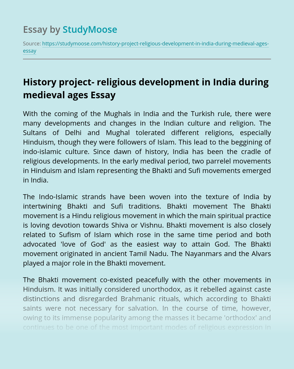 History project- religious development in India during medieval ages