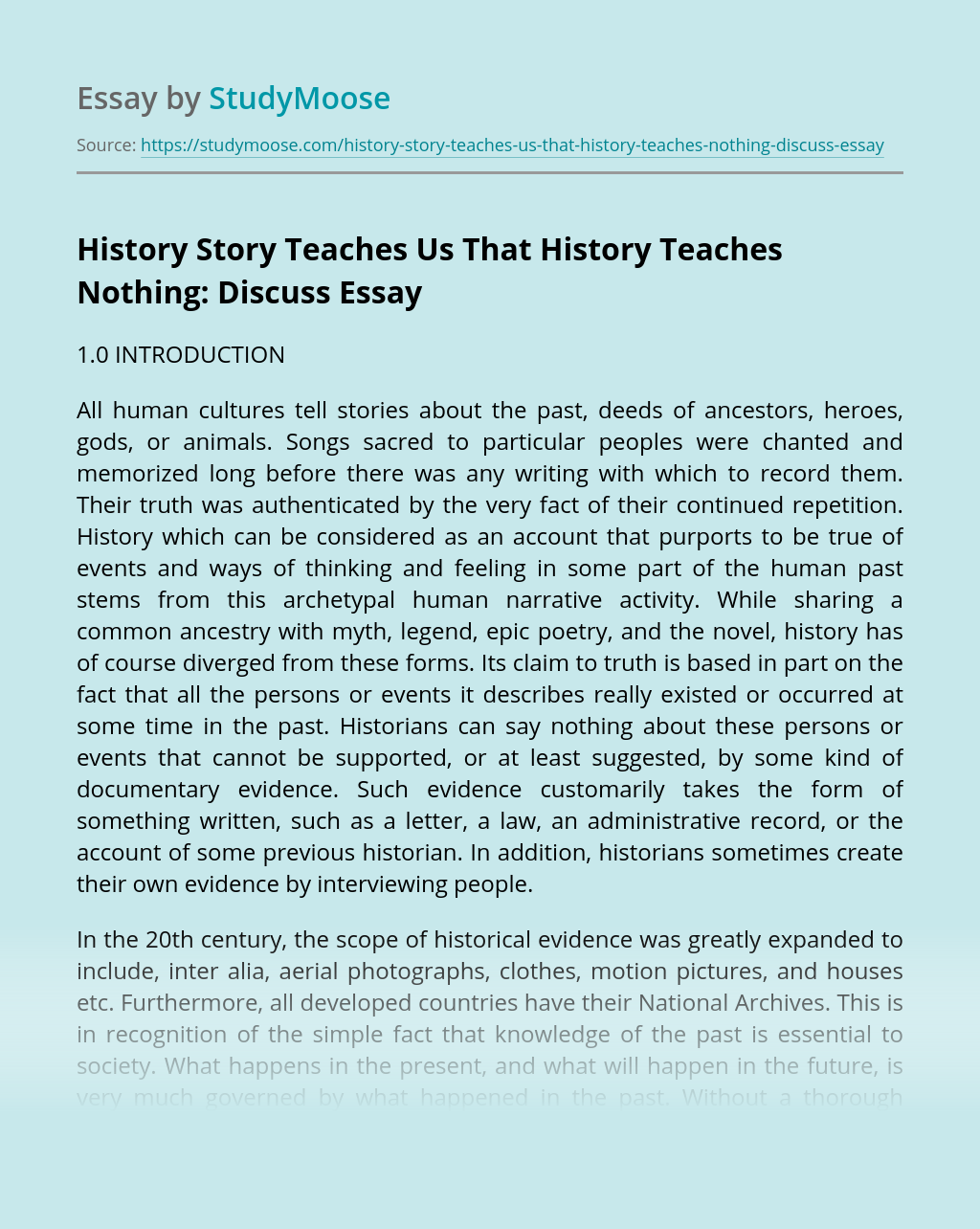 History Story Teaches Us That History Teaches Nothing: Discuss
