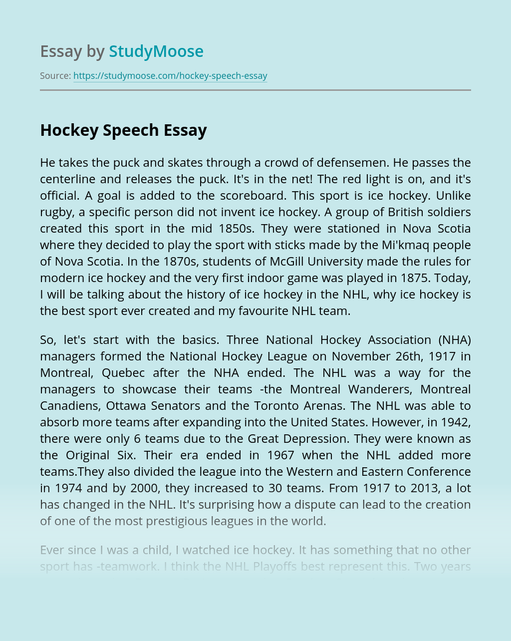 Hockey Speech