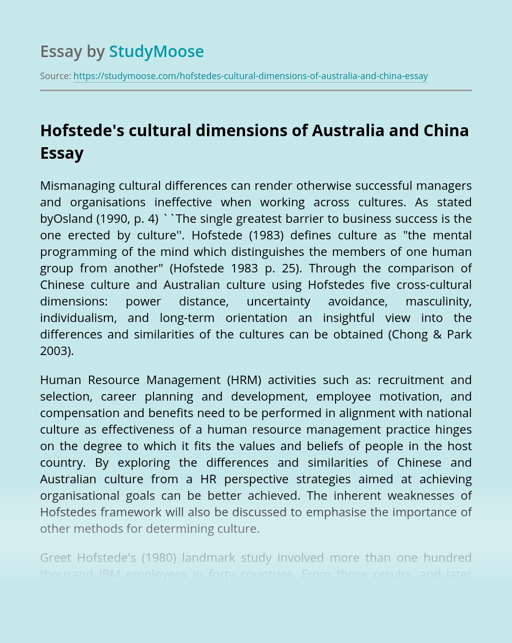 Hofstede's cultural dimensions of Australia and China