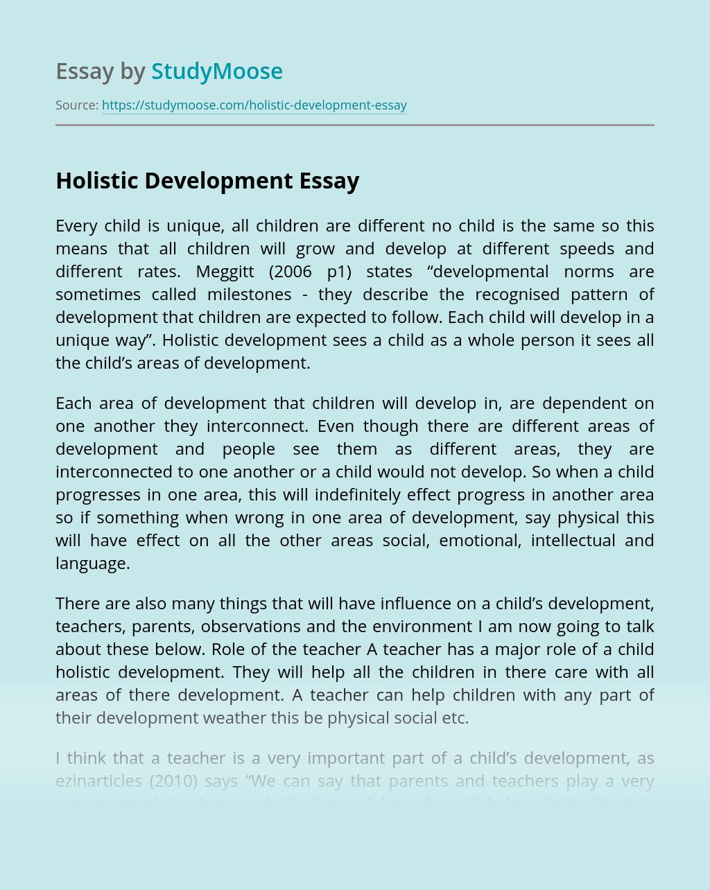 Holistic Development Free Essay Example