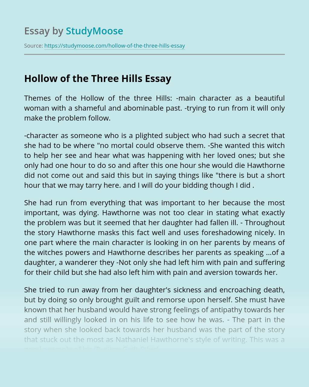 Hollow of the Three Hills by Nathaniel Hawthorne